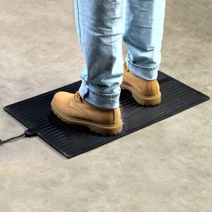 "foot warmer Floormat.com Safe and economical – using one tenth the energy of dangerous space heaters. <ul> <li>Uses only 135 watts; 90% less than a standard 1,500 watt space heater</li> <li>TUV Listed - meets strict safety standards</li> <li>Warms cold feet directly through shoes or boots</li> <li>Perfect for under desks & standing work stations</li> <li>May be used to melt snow from boots, leaving them warm & dry</li> </ul> <h2>Heated Anti-fatigue Desk Mats Provide Warmth, Increase Productivity</h2>  <strong>Heated, under desk floor mats provide warmth and anti-fatigue comfort in cold climates and winter months.</strong><strong>The warmed mat is both safer and more economical than a space heater.</strong><strong>Features & Benefits</strong> <ul> <li>Winter Warmth Mat generates a radiant heat which creates an extremely comfortable even heat while reducing fatigue and stimulating circulation.</li> <li>Increased economy and safety!</li> <li><b>Timer accessory assures that never again will an owner or manager need to return to the office<img class=""size-thumbnail wp-image-14952 alignright"" src=""https://www.floormat.com/wp-content/uploads/winter-warmth-mat-use-150x150.jpg"" alt="""" width=""150"" height=""150"" /> to make sure space heaters are turned off</b>. It also provides on-off function so the mat does not have to be plugged/unplugged to control function.</li> <li>Even should the Winter Warmth Mat be left on, it assures safety and lower energy costs than space heaters.</li> <li>Ideal for people who spend long hours on their feet or in cold environments, including bank tellers, toll booth operators, machinists and any other users of space heaters.</li> <li>Designed for use on hard floors only (do not use on carpet).</li> </ul> <img class=""alignleft size-thumbnail wp-image-14953"" src=""https://www.floormat.com/wp-content/uploads/Winter-Warmth-timer-150x150.jpg"" alt="""" width=""150"" height=""150"" />The Winter Warmth Mat timer accessory can be preset so the mat will turn on or off automatically creating a warm working environment before you even get to work.The overall thickness of the Winter Warmth Mat is 1/2"" consisting of 3/8"" foam and a 1/8 vinyl finish. This mat reduces fatigue from either sitting or standing and has beveled edges on all four sides making it ideal for many applications.There is a two year warranty/replacement policy.The U.S. Consumer Product Safety Commission estimates that more than 25,000 residential fires every year are associated with the use of room (space) heaters. More than 300 persons die in these fires. An estimated 6,000 persons receive hospital emergency room care for burn injuries associated with contacting hot surfaces of room heaters, mostly in non-fire situations.""After sitting for hours, I enjoy resting my feet on the Winter Warmth Mat. It is very relaxing on the feet and legs.""- <i>Mary Davis, HT (ASCP) of the Cleveland Clinic Foundation</i> ""I work as a Floor Manager at a factory and spend almost my entire workday on my feet. Not long ago I developed a bone spur in my heel, which causes my foot to ache.I recently was given your Winter Warmth Heated Floor Mat to try. Not only did the mat ease the general fatigue of standing in one place for long periods of time, but the heat all but eliminated the pain of the bone spur, making it comfortable to stand flat footed.Thank you for your product. I am very impressed""<i>Donald Yoast Advanced Specialty Products, Inc. 428 Clough Street Bowling Green, OH 43402</i><b>Electrical Approvals:</b> <ul> <li>TUV Certified to UL 499:2005 R3.06 (U. S. only, not Canada)</li> </ul> <b>Foot-Warmer & Super Foot Warmer Insulated Heat Mats</b><strong>NOT for use on carpets</strong>. All orders processed on a secure server.<b>Greener Heat</b>The heated mat obviously does not have the intensity of a space heater. What it does produce is a healthier radiant heat which should increase worker productivity.<a title=""Temperature Effects on Productivity"" href=""https://www.floormat.com/heated-mats/heat-and-productivity"" rel=""lyteframe"" rev=""width: 700px; height: 600px; scrolling: yes;""><b>Cornell University Research Shows Temperature Effects on Productivity (view details)</b></a><b>What You Can Expect From The Heated Desk Mat</b>When the room temperature is 68 degrees the floor temperature is generally about 60 degrees except on an outside wall. The floor temperature on an outside wall could be as low as 53 degrees and could be colder on a slab floor . This is why one experiences cold feet and legs. The surface temperature will vary depending upon the floor temperature. <ul> <li>If the floor temperature is 64 degrees, the surface temperature of the heated desk mat will be 110-112 degrees.</li> <li>If the floor temperature is 53 degrees, the surface of the heated desk mat will be 105-108 degrees.</li> </ul><b>Energy Facts about the Heated Desk Mat</b>Average Space Heater: 1000 to 1500 watts The Heated Desk Mat: 72 watts*The space heater on average uses 17 times more energy<b>Cost per hour of operation (average):</b> <ul> <li>Space heater: $0.09 – $0.12 per hour</li> <li>The Heated Desk Mat: Less than $0.01 per hour</li> </ul> <b>Approx. Cost Savings per week (8 hours operation 5 days a week):</b> <ul> <li>Space Heater: $4.00 per week</li> <li>The Heated Desk Mat: $0.32 per week</li> <li><b><i>Savings per month</i></b>: Over $15.00</li> </ul> These are average numbers and may vary depending on the cost of your electricity."
