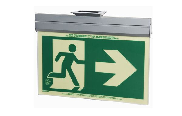 gloBrite P50 ECO Exit Sign 1 Floormat.com Glo Brite® P50 Exit signs are now available in acrylic to provide a more formal, front office look. Glo Brite® photoluminescent signs are the intrinsically safe, zero energy, environmentally friendly solution for marking your emergency evacuation routes. Engineered with photoluminescent material that absorbs and stores LED, fluorescent, metal halide or mercury vapor light, Glo Brite® signs create clear, brightly glowing egress pathways during emergency blackout or smoky conditions.