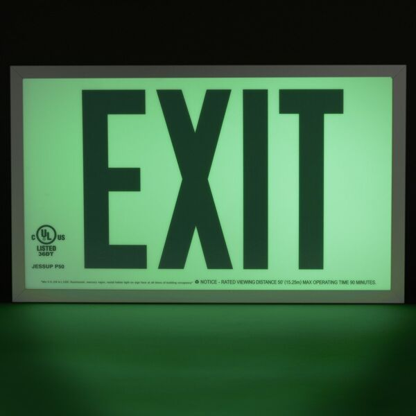 gloBrite P50 ECO Exit Sign 2 Floormat.com Glo Brite® P50 Exit signs are now available in acrylic to provide a more formal, front office look. Glo Brite® photoluminescent signs are the intrinsically safe, zero energy, environmentally friendly solution for marking your emergency evacuation routes. Engineered with photoluminescent material that absorbs and stores LED, fluorescent, metal halide or mercury vapor light, Glo Brite® signs create clear, brightly glowing egress pathways during emergency blackout or smoky conditions.