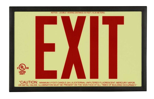 gloBrite P50 ECO Exit Sign 3 Floormat.com Glo Brite® P50 Exit signs are now available in acrylic to provide a more formal, front office look. Glo Brite® photoluminescent signs are the intrinsically safe, zero energy, environmentally friendly solution for marking your emergency evacuation routes. Engineered with photoluminescent material that absorbs and stores LED, fluorescent, metal halide or mercury vapor light, Glo Brite® signs create clear, brightly glowing egress pathways during emergency blackout or smoky conditions.