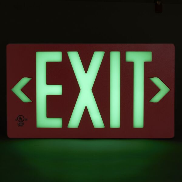 globright p100 exit alum Floormat.com Glo Brite® PF100 Exit Signs utilize next generation photoluminescent technology to absorb and store ambient light for dark places. During an emergency blackout or low visibility conditions, this stored glowing energy is immediately visible, creating a clear, recognizable photoluminescent egress indicator. During an emergency blackout or smoky conditions, this stored energy is immediately visible, reducing the risk of panic or injury during an emergency evacuation while also reducing energy and maintenance costs.