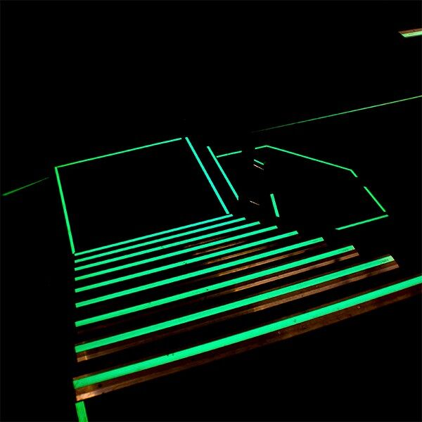 glow in dark egress marking tape Floormat.com Ensure safe passage during power outages