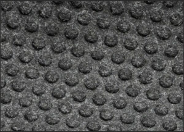 """grease hog 2 Floormat.com <h2>Indoor Scraper - Wiper Mats for kitchens and commercial applications</h2> <ul> <li>Solution-Dyed polypropylene fabric will not fade or rot</li> <li>Grease proof Nitrile rubber backing</li> <li>Permanently molded bi-level pattern on the carpet surface prevents pile from crushing and provides an anti-slip surface</li> <li>Low profile fabric construction ensures easy cleaning and quick drying</li> <li>Low profile reinforced borders ensure mat will lay flat and will not crack and break while allowing carts to cross easily</li> <li>Unique disk pattern on back of mat keeps it in place on hard floor surfaces. Available with cleated backing for carpeted surfaces.</li> <li>1/4"""" thickness</li> <li>Perfect for use in kitchens to stop oil and grease from being tracked into the dining rooms causing stained floors and slip and fall hazards</li> </ul>"""