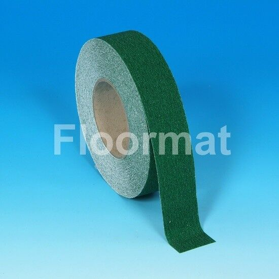 "green safety grip Floormat.com Designed to increase safety by improving foot traction, these anti-slip tapes also draw visual attention to areas that might require additional caution. <ul> <li>Heavy Traffic Areas, Work Areas, Loading Docks, Stairways & Ladders, Ramps & Walkways</li> <li>Able to bend over 90° angles without fracture</li> <li>Rolls 1"" wide x 60' long to 6"" wide x 60'. For wider areas use 2 or more smaller rolls</li> <li>Die-cut pieces 6"" x 24"", 5.5"" sq., and 3/4"" x 24"". Several other standard sizes are available upon request</li> <li>Colors and materials designed to grab attention</li> <li>A wide variety of sizes that are easy to apply</li> </ul> <h2>Floormat Anti-Slip Tape Products</h2> <h3>Slip-resistant Tapes</h3> Designed to increase safety by improving foot traction, these anti-slip tapes also draw visual attention to areas that might require additional caution. We offer: <ul> <li>Colors and materials designed to grab attention</li> <li>A wide variety of sizes that are easy to apply</li> </ul> Our products meet OSHA and ADA federal regulations, as well as Military Spec 17951C, Our long-wearing items are offered in a variety of colors and sizes. O.E.M. pricing is available, as are quantity discounts. Rolls up to 12"" wide, and we will ship partial rolls. For pricing and further information, please contact Floormat.com, or order Master Stop anti-slip tape in 60 foot rolls and a variety of widths and colors online here."