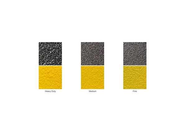 """grit coated cource Floormat.com Grit-Coated Step Covers & Walkway Panels provide slip resistance, durability and a permanent anti-slip solution. Fiber glass step covers are lightweight and ideal for use on structurally sound surfaces. <ul> <li>Our Fiber Glass products are coated with a proprietary blend of mineral abrasive epoxy grit. Surfaces such as gratings, mezzanines, steps, inclines, and Ramps</li> <li>All are available in three distinct grit coating options: Heavy Duty, Medium and Fine as well as Yellow or Black.</li> <li>Specialty sizes and panels are available upon request. Call for details.</li> </ul> <h2>Add Slip-resistance to Steps, Ramps & Walkways</h2> Featuring a proprietary coating of mineral abrasive epoxy grit, our fiberglass step covers and walkways provide a lightweight and durable anti-slip surface. With three coating options, heavy, medium or fine, our covers may be applied to any structurally sound surface including steps, inclines, floors, and ramps. These fiberglass covers are a cost-effective way to provide slip-resistant footing to existing surfaces, and combine low maintenance with long service life. The mineral abrasive epoxy grit is bonded to 0.125"""" thick thermoset polyester, fiber-reinforced polymer panels. These fiberglass step covers and panels are fire-retardant and easy to maintain. The epoxy grit surface may be swept to loosen and remove dirt, and cleaned with a general purpose industrial floor cleaner and bristle brush. The step covers and walkway panels may also be pressure washed with up to 1000 psi. <img class=""""size-medium wp-image-14990 alignleft"""" src=""""https://www.floormat.com/wp-content/uploads/sure-foot-grit-300x232.jpg"""" alt="""""""" width=""""300"""" height=""""232"""" /> <h3>Step Covers</h3> <ul> <li>11.75"""" depth with 2"""" nosing</li> <li>9"""" depth with 1"""" nosing</li> <li>3"""" depth with 1"""" nosing</li> <li>Lengths up to 12 feet</li> <li>Single color treads in yellow or black only</li> <li>Two-color treads, yellow nose with black back</li> </ul>"""