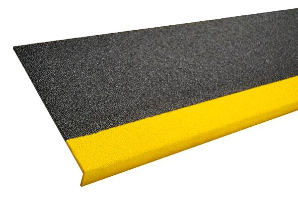 """grit coated step covers 1 Floormat.com Grit-Coated Step Covers & Walkway Panels provide slip resistance, durability and a permanent anti-slip solution. Fiber glass step covers are lightweight and ideal for use on structurally sound surfaces. <ul> <li>Our Fiber Glass products are coated with a proprietary blend of mineral abrasive epoxy grit. Surfaces such as gratings, mezzanines, steps, inclines, and Ramps</li> <li>All are available in three distinct grit coating options: Heavy Duty, Medium and Fine as well as Yellow or Black.</li> <li>Specialty sizes and panels are available upon request. Call for details.</li> </ul> <h2>Add Slip-resistance to Steps, Ramps & Walkways</h2> Featuring a proprietary coating of mineral abrasive epoxy grit, our fiberglass step covers and walkways provide a lightweight and durable anti-slip surface. With three coating options, heavy, medium or fine, our covers may be applied to any structurally sound surface including steps, inclines, floors, and ramps. These fiberglass covers are a cost-effective way to provide slip-resistant footing to existing surfaces, and combine low maintenance with long service life. The mineral abrasive epoxy grit is bonded to 0.125"""" thick thermoset polyester, fiber-reinforced polymer panels. These fiberglass step covers and panels are fire-retardant and easy to maintain. The epoxy grit surface may be swept to loosen and remove dirt, and cleaned with a general purpose industrial floor cleaner and bristle brush. The step covers and walkway panels may also be pressure washed with up to 1000 psi. <img class=""""size-medium wp-image-14990 alignleft"""" src=""""https://www.floormat.com/wp-content/uploads/sure-foot-grit-300x232.jpg"""" alt="""""""" width=""""300"""" height=""""232"""" /> <h3>Step Covers</h3> <ul> <li>11.75"""" depth with 2"""" nosing</li> <li>9"""" depth with 1"""" nosing</li> <li>3"""" depth with 1"""" nosing</li> <li>Lengths up to 12 feet</li> <li>Single color treads in yellow or black only</li> <li>Two-color treads, yellow nose with black back</li"""