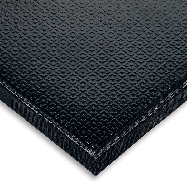 """happy feet textured 1 Floormat.com Happy Feet is a heavy-duty anti-fatigue mat that features a dense foam cushion encapsulated in nitrile rubber, making it suitable for both wet and dry environments. <ul> <li><b>Comfortable</b>- 1/2"""" dense foam cushion and nitrile rubber surface provide excellent anti-fatigue qualities</li> <li><b>Safe</b>- Certified high-traction by the National Floor Safety Institute (NFSI)</li> <li><b>Durable</b>- Nitrile rubber surface is penetration proof; borders will not crack or curl</li> <li><b>Versatile</b>- Welding safe; grease/oil proof; chemical resistant; ESD rating of electrically conductive</li> <li>Available in two surface types:<i>Textured Surface</i>for dry/damp environments or<strong><a href=""""https://www.floormat.com/floor-mats/anti-fatigue-mats/happy-feet-grip/""""><i>Grip Surface</i></a></strong>for wet environments where additional traction is needed</li> <li>Available with solid black or with OSHA-approved yellow striped borders</li> </ul>"""