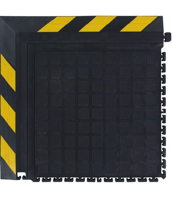 hh modular tile ii corner yellow border 1 Floormat.com Formerly known as Hog Heaven II, the Hog Heaven III has an improved locking mechanism for greater reliability and function. Recommended for distribution, manufacturing and retail facilities for picking lines, assembly lines, workstations, check-out stations and more. Nitrile rubber surface is molded to the cushion backing (not glued) so the surface does not delaminate. The mats cushion is a closed cell Nitrile rubber cushion that provides long-lasting comfort. <ul> <li>Rubber surface remains flexible for the life of the product and will not curl or crack</li> <li>Border is available in black and yellow striped</li> <li>Electrically conductive, and welding safe</li> </ul>