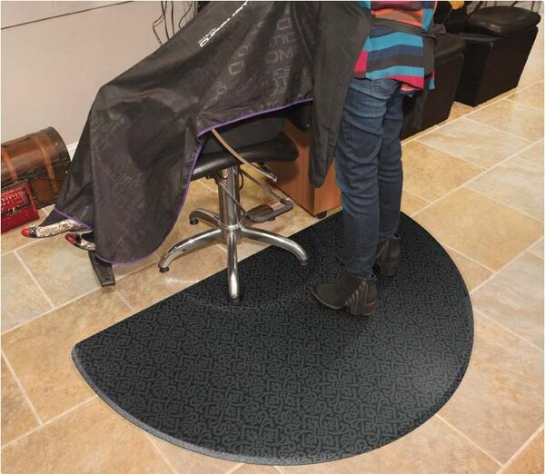 """salon decor 2 1 Floormat.com This line offers five designs in a fashionable black/grey color scheme that complements all decors. The 3/4"""" thick mat top is made of durable woven PVC, that makes it resistant to high heels and stains. Recommended for beauty and barber shops. <ul> <li>Premium Nitrile rubber cushion extends all the way to the beveled</li> <li>The top surface of the mat is molded to the back cushion, not glued, so hair trimmings sweep off easily. Easy to clean. Spray with mild surface cleaner and wipe off.</li> </ul>"""
