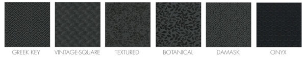 """salon decor 5 Floormat.com This line offers five designs in a fashionable black/grey color scheme that complements all decors. The 3/4"""" thick mat top is made of durable woven PVC, that makes it resistant to high heels and stains. Recommended for beauty and barber shops. <ul> <li>Premium Nitrile rubber cushion extends all the way to the beveled</li> <li>The top surface of the mat is molded to the back cushion, not glued, so hair trimmings sweep off easily. Easy to clean. Spray with mild surface cleaner and wipe off.</li> </ul>"""