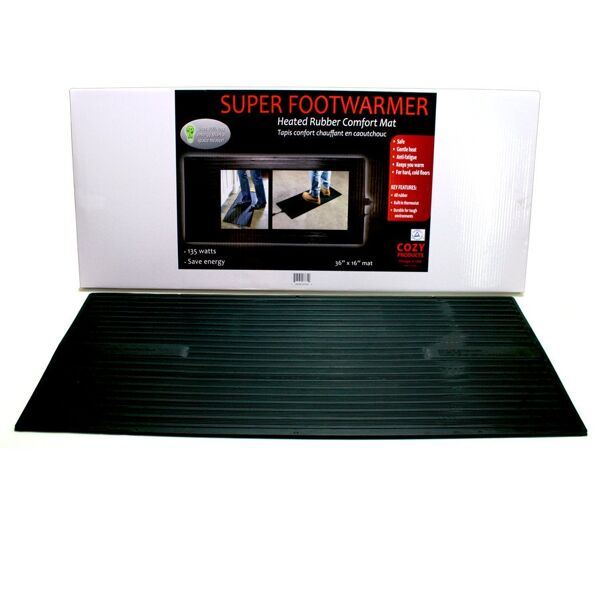 "super foot warmer 3 Floormat.com Safe and economical – using one tenth the energy of dangerous space heaters. <ul> <li>Uses only 135 watts; 90% less than a standard 1,500 watt space heater</li> <li>TUV Listed - meets strict safety standards</li> <li>Warms cold feet directly through shoes or boots</li> <li>Perfect for under desks & standing work stations</li> <li>May be used to melt snow from boots, leaving them warm & dry</li> </ul> <h2>Heated Anti-fatigue Desk Mats Provide Warmth, Increase Productivity</h2>  <strong>Heated, under desk floor mats provide warmth and anti-fatigue comfort in cold climates and winter months.</strong><strong>The warmed mat is both safer and more economical than a space heater.</strong><strong>Features & Benefits</strong> <ul> <li>Winter Warmth Mat generates a radiant heat which creates an extremely comfortable even heat while reducing fatigue and stimulating circulation.</li> <li>Increased economy and safety!</li> <li><b>Timer accessory assures that never again will an owner or manager need to return to the office<img class=""size-thumbnail wp-image-14952 alignright"" src=""https://www.floormat.com/wp-content/uploads/winter-warmth-mat-use-150x150.jpg"" alt="""" width=""150"" height=""150"" /> to make sure space heaters are turned off</b>. It also provides on-off function so the mat does not have to be plugged/unplugged to control function.</li> <li>Even should the Winter Warmth Mat be left on, it assures safety and lower energy costs than space heaters.</li> <li>Ideal for people who spend long hours on their feet or in cold environments, including bank tellers, toll booth operators, machinists and any other users of space heaters.</li> <li>Designed for use on hard floors only (do not use on carpet).</li> </ul> <img class=""alignleft size-thumbnail wp-image-14953"" src=""https://www.floormat.com/wp-content/uploads/Winter-Warmth-timer-150x150.jpg"" alt="""" width=""150"" height=""150"" />The Winter Warmth Mat timer accessory can be preset so the mat will turn on or off automatically creating a warm working environment before you even get to work.The overall thickness of the Winter Warmth Mat is 1/2"" consisting of 3/8"" foam and a 1/8 vinyl finish. This mat reduces fatigue from either sitting or standing and has beveled edges on all four sides making it ideal for many applications.There is a two year warranty/replacement policy.The U.S. Consumer Product Safety Commission estimates that more than 25,000 residential fires every year are associated with the use of room (space) heaters. More than 300 persons die in these fires. An estimated 6,000 persons receive hospital emergency room care for burn injuries associated with contacting hot surfaces of room heaters, mostly in non-fire situations.""After sitting for hours, I enjoy resting my feet on the Winter Warmth Mat. It is very relaxing on the feet and legs.""- <i>Mary Davis, HT (ASCP) of the Cleveland Clinic Foundation</i> ""I work as a Floor Manager at a factory and spend almost my entire workday on my feet. Not long ago I developed a bone spur in my heel, which causes my foot to ache.I recently was given your Winter Warmth Heated Floor Mat to try. Not only did the mat ease the general fatigue of standing in one place for long periods of time, but the heat all but eliminated the pain of the bone spur, making it comfortable to stand flat footed.Thank you for your product. I am very impressed""<i>Donald Yoast Advanced Specialty Products, Inc. 428 Clough Street Bowling Green, OH 43402</i><b>Electrical Approvals:</b> <ul> <li>TUV Certified to UL 499:2005 R3.06 (U. S. only, not Canada)</li> </ul> <b>Foot-Warmer & Super Foot Warmer Insulated Heat Mats</b><strong>NOT for use on carpets</strong>. All orders processed on a secure server.<b>Greener Heat</b>The heated mat obviously does not have the intensity of a space heater. What it does produce is a healthier radiant heat which should increase worker productivity.<a title=""Temperature Effects on Productivity"" href=""https://www.floormat.com/heated-mats/heat-and-productivity"" rel=""lyteframe"" rev=""width: 700px; height: 600px; scrolling: yes;""><b>Cornell University Research Shows Temperature Effects on Productivity (view details)</b></a><b>What You Can Expect From The Heated Desk Mat</b>When the room temperature is 68 degrees the floor temperature is generally about 60 degrees except on an outside wall. The floor temperature on an outside wall could be as low as 53 degrees and could be colder on a slab floor . This is why one experiences cold feet and legs. The surface temperature will vary depending upon the floor temperature. <ul> <li>If the floor temperature is 64 degrees, the surface temperature of the heated desk mat will be 110-112 degrees.</li> <li>If the floor temperature is 53 degrees, the surface of the heated desk mat will be 105-108 degrees.</li> </ul><b>Energy Facts about the Heated Desk Mat</b>Average Space Heater: 1000 to 1500 watts The Heated Desk Mat: 72 watts*The space heater on average uses 17 times more energy<b>Cost per hour of operation (average):</b> <ul> <li>Space heater: $0.09 – $0.12 per hour</li> <li>The Heated Desk Mat: Less than $0.01 per hour</li> </ul> <b>Approx. Cost Savings per week (8 hours operation 5 days a week):</b> <ul> <li>Space Heater: $4.00 per week</li> <li>The Heated Desk Mat: $0.32 per week</li> <li><b><i>Savings per month</i></b>: Over $15.00</li> </ul> These are average numbers and may vary depending on the cost of your electricity."