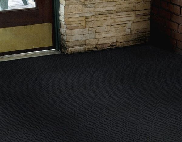 """super scrape parquet 2 Floormat.com These Superscrape Parquet Tile offer a 1/4"""" thick molded Nitrile Rubber with 20% post consumer recycled content, 18"""" X 18"""" tile. <ul> <li>Effectively removes and stores dirt and sand beneath shoe level so it does not enter the building</li> <li>UV resistant, anti-static</li> <li>Recommended for commercial buildings, grocery stores, hotels, restaurants, healthcare facilities, office buildings and more</li> </ul>"""