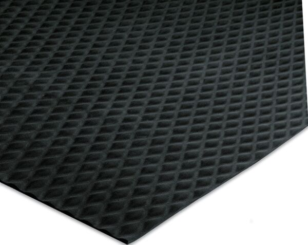"""traction treadcorner 1 Floormat.com Ideal for numerous production locations, walkways, gym floor protection, parts counters, lab areas and food service applications. <ul> <li>Slip resistant floor protection matting made from chemical-resistant Nitrile rubber foam</li> <li>1/4"""" thick and contains 15% post-consumer recycled rubber content</li> <li>UV protected, grease/oil proof, welding safe and static dissipative</li> </ul>"""
