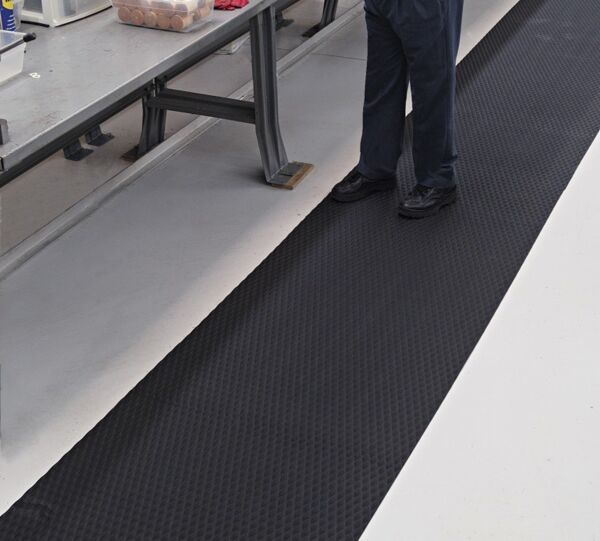 """ttreadsoftworkbench2hr 1 Floormat.com Ideal for numerous production locations, walkways, gym floor protection, parts counters, lab areas and food service applications. <ul> <li>Slip resistant floor protection matting made from chemical-resistant Nitrile rubber foam</li> <li>1/4"""" thick and contains 15% post-consumer recycled rubber content</li> <li>UV protected, grease/oil proof, welding safe and static dissipative</li> </ul>"""
