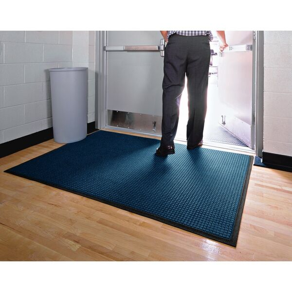 "waterhog classic 7 Floormat.com Perfect for most applications inside or out, Waterhog Classic's unique design makes it revolutionary. The raised rubber ""water dam"" border traps dirt and water, keeping them off carpet and floors. <ul> <li>24 oz.sq/yd solution-dyed polypropylene fabric is highly stain resistant</li> <li>SBR rubber backing contains 20% recycled rubber content</li> <li>3/8"" thick bi-level surface effectively removes and stores dirt and moisture beneath shoe level between cleanings</li> <li>Rubber reinforced face nubs prevent pile from crushing extending performance life of product</li> <li>Unique ""Water Dam"" allows the Waterhog mat to hold up to 1 1/2 gallons of water per square yard, water and dirt stay on the mat</li> <li>Anti-Static</li> <li>Recommended for commercial buildings, hotels, restaurants, healthcare facilities, office buildings and more</li> </ul>"