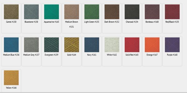 "waterhog classic diamond colors Floormat.com This indoor/outdoor entrance scraper mat is made of a 24 oz.sq/yd Polypropylene fiber system that dries quickly and won't fade or rot. <ul> <li>3/8"" thick bi-level surface effectively removes dirt and moisture beneath shoe level</li> <li>Rubber reinforced face nubs prevent pile from crushing extending performance life of product</li> <li>Unique ""Water Dam"" and ridged construction effectively holds dirt & moisture between cleaning</li> </ul>"
