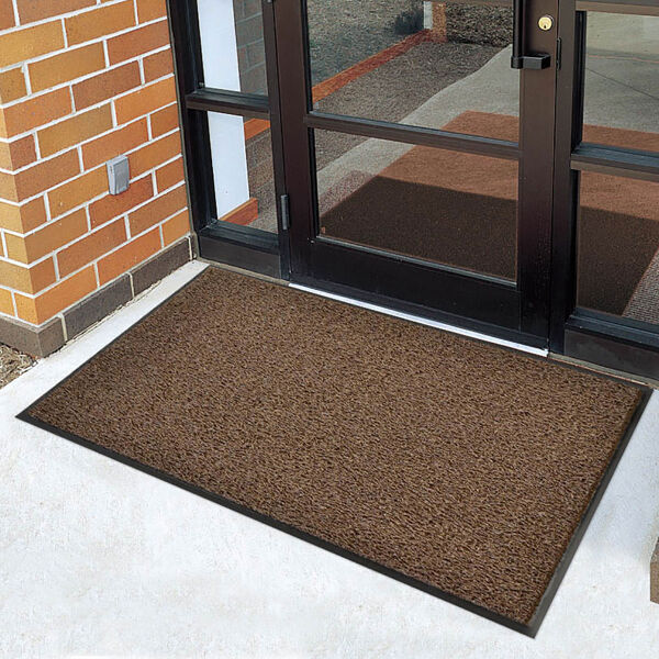 """wayfarer custom hd 3 Floormat.com Wayfarer® Custom HD is specially designed to dry quickly and resist mildew making it the perfect mat for heavy-traffic outdoor entrance ways, plant entrances, drinking fountains, and pool areas. <ul> <li>Heavy-duty vinyl-looped construction traps dirt and moisture while scraping debris</li> <li>Thick vinyl backing to resist mat movement</li> <li>Factory compressed borders</li> <li>Designed to dry quickly and resist mildew</li> <li>Recommended product as a part of the GreenTRAX™ program for """"Green Cleaning"""" environments</li> <li>Custom lengths available (3', and 4' widths)</li> <li>Available Colors: Gray, Black, Brown, Leaf Green, Navy</li> </ul> Wayfarer™ Custom HD is a heavy-duty vinyl-loop outdoor mat with a solid sheet vinyl back. The vinyl-loop design removes dirt and moisture from shoes and securely traps them beneath the mat's surface."""